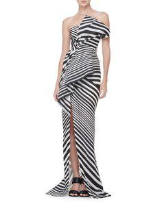 J. Mendel Striped Asymmetric-Fold Gown
