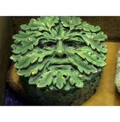 Round Green Man Wiccan Pagan Jewelry Keepsake Stash Box