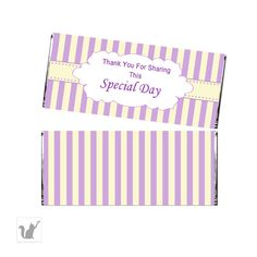 Printable Yellow Purple Lavender Stripes Party Candy Bar Wrapper - Baby Shower Decoration Birthday Party Favors Chocolate Wraps