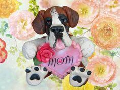 Saint Bernard Dog Mom Heart Rose Mother's Day by sallysbitsofclay, $22.00