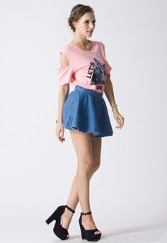 Triangle Print Pink / Orange Cut Out T-shirt