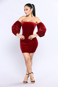 Strut Around Velvet Dress - Burgundy