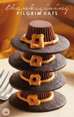 These Thanksgiving Pilgrim Hats from Hallmark, made with Reeses Peanut Butter Cups, are just too cute. Share this must-try dessert with your holiday guests!