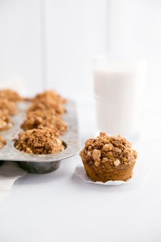 Healthy Pumpkin Banana Muffins with Macadamia Nut Crunch! These are made with whole wheat flour, are easy to make and have amazing flavor!