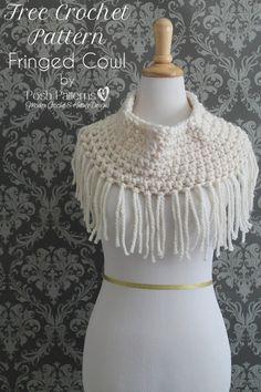 fringe cowl free crochet pattern-1 skein Lion Brand Wool Ease Thick N Quick,P Crochet Hook Tapestry Needle-Scissors-43 stitiches and 7 rounds, add fringe and done!