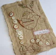 #3 of 4 from sketch to stitch, Add embellishments like buttons, beads, etc.