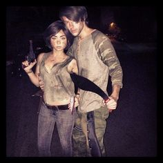 Pin for Later: Look Back at the Best Celebrity Halloween Candids  Sarah Hyland and her boyfriend Matt Prokop were characters from The Walking Dead. Source: Instagram user therealsarahhyland
