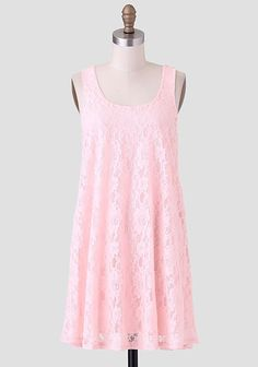 Midsummers Dream Lace Dress In Pink   Perfected with cotton-blend lace, this light-pink trapeze dress is finished with a rounded neckline.