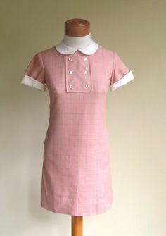 """Vintage 60s MiniDress by The Villager  -hugely popular brand in mid-late 60's of """"preppy"""" style small floral printed blouses and shirtwaist dresses with pin tucks and Peter Pan collars, tailored solid colored skirts and  not-quite Bermuda length shorts.  Paired with penny loafers (NO Sox) or color-coordinated sandals and handbags.  Styles stayed the same but skirts got shorter later in the 60's."""
