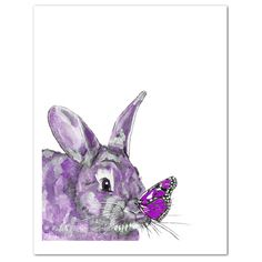 Purple Bunny and Butterfly Watercolor Art Print, Modern Rabbit Art, Whimsical Woodlands Animal Art, girls room art, contemporary nursery art Watercolor Art Diy, Butterfly Watercolor, Green Watercolor, Butterfly Art, Flower Art, Thing 1, Rabbit Art, Bunny Art, Unique Wall Art