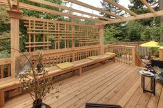 Privacy solution for south railing on deck... CHRIS LIKES THIS!! (no overhead pergola component, of course)