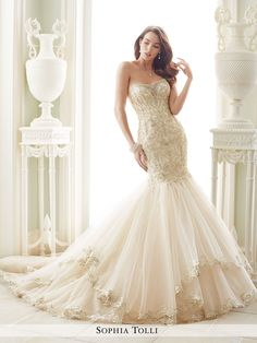 Sophia Tolli - Strapless misty tulle and organza trumpet gown with metallic lace, sweetheart neckline concealed with lace motif and hand-beaded illusion panel, richly beaded lace appliqué bodice with
