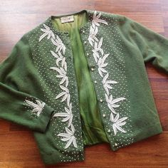 I don't see green ones too often 60s beaded cardigan | s/m $40 #60style 60sfashion #50sstyle #shopvintage #truevintage #seattlevintage #vintagecardigan
