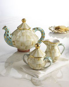 """Parchment Check"" Tea Set by MacKenzie-Childs at Horchow."