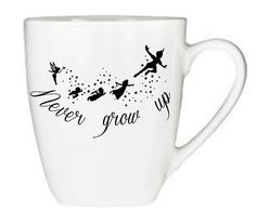 Never Grow Up Peter Pan Inspired Coffee Mug, Tinker Bell, TInkerbell Peter Pan, Disney, Tinkerbell, Never Grow Up, Neverland, Cute, Gift Idea, Birthday, Mug, Coffee, Cup