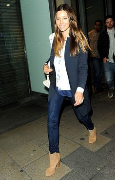 Denim Darling - Jessica Biel flashed a smile as she and husband Justin Timberlake left Dover Street Market in London.