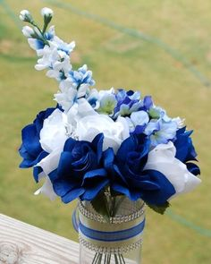 Lot of 4 Large Hand Tied Centerpiece Wedding Silk Flower Royal Blue  Roses on eBay!