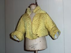 children's clothing 1780 | Georgian Yellow! A Dutch, c1780's baby silk quilted caraco jacket