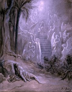 Gustave Doré (Note: Dore, 1832-1883, was a prolific French illustrator and painter. The above illustration is the Biblical Jacob's Ladder a vision of the ascent from earth to Heaven given to Jacob in a dream. — Shades and Shadows)