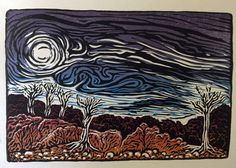 Angry Skies color woodcut Southwest desert by 1000woodcuts on Etsy