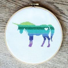 Everyone needs a cross stitched unicorn, right? Well, you certainly do! This simple unicorn cross stitch pattern features a wonderful ombre