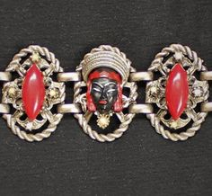 Vintage Selro Selini Nubian Asian Princess Faces Black Red Pearl Panel Bracelet