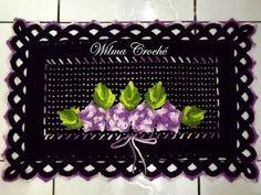 Tapete de Pia do Jogo de Banheiro Preto e Lilás -  /  Pia carpet Black Bathroom Set and Lilac -