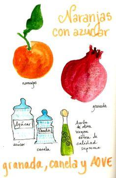 ensalada de naranja, azucar, canela granada dibujo ilustrada Orenge