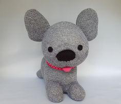 French Bulldog Plush Toy, Frenchie Stuffed Animal, Bulldog Sock Toy, Sock Monkey by SockSockWorld on Etsy