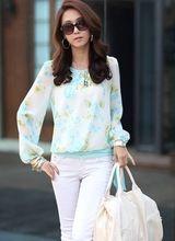 Lantern-sleeve-chiffon-flower-lace-waistband-Korean-loose-chiffon-shirt-Chiffon-clothing-for-women.