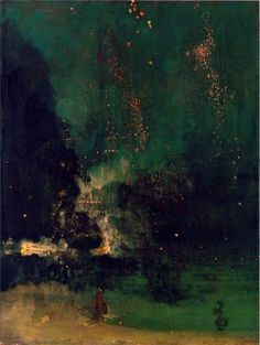 James McNeill Whistler, 1875 Nocturne in Black and Gold: The Falling Rocket oil on wood