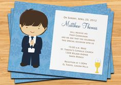 First Communion Invitation for Boy Brown Hair por eventfulcards