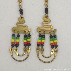 $9.99 - Brass Maasai Beads Rasta Earrings