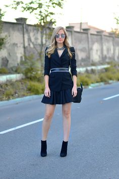 Blazer, belt, boots, and necklace by Zara, skirt by Asos, bag by Celine. (ohmyvogue.com, November 4, 2013)