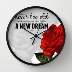 #dream #quote #inspiration #motivation #roses #typography #wallclock #walldecor in different #homedecor products. Check more at society6.com/julianarw