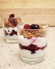 fruit & yogurt parfaits with homemade granola.  Flavored yogurt contains more sugar, artificial flavors.  Use plain yogurt and fresh fruit and granola