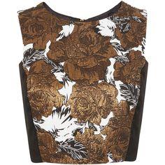 Miss Selfridge Floral Jacquard Top ($18) ❤ liked on Polyvore featuring tops, bronze color, miss selfridge, flower print crop top, crop top, brown tops y floral print top