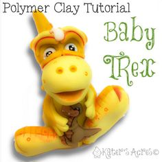 Polymer Clay Baby T-Rex Dinosaur Tutorial - Also for Fondant, Sugar Paste, & More by KatersAcres on Etsy