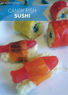 For a fun afternoon in the kitchen with your kids, or a kid-friendly activity at a party, these candy sushi treats are perfect. All that you need is your favorite Rice Krispies recipe, fruit roll-ups, and candy fish—now you're ready to get creative!