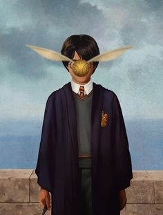 Harry Potter and the Snitch in a parody of surrealist René Magritte Pintura Do Harry Potter, Magie Harry Potter, Harry Potter Painting, Arte Do Harry Potter, Harry Potter Love, James Potter, Rene Magritte, Artist Magritte, Magritte Paintings