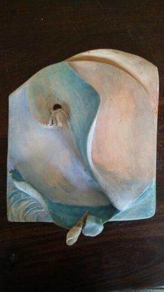Atardecer en el mar.ceramica.autora:Sandy Enquin