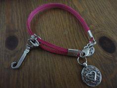 Pink Heart Zipper Bracelet by NickNackTreasureShac on Etsy