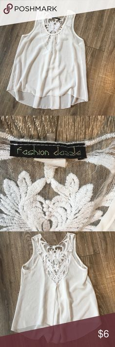 White tank top with floral lace The white and floral lace make this tank cute for casual or formal Fashion Dazzle Tops Tank Tops