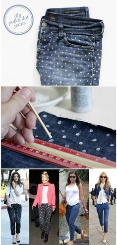 DIY polka dotted denim – 32 Brilliant DIY Anthropologie Knockoffs - ok this is on denim but it would work on just about any items of clothing even t-shirts!