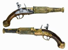 Pair of Dutch flintlock pistol with cast brass barrels designed to fire buckshot. Rifles, Revolver Rifle, Flintlock Pistol, Steampunk Weapons, Aliens, Cool Guns, Military Weapons, Guns And Ammo, Utrecht