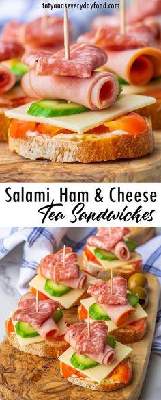 Easy Sandwich Recipes, Easy Appetizer Recipes, Appetizers For Party, Tea Party Sandwiches Recipes, Party Appetisers, Sandwiches For Parties, Bunco Snacks, Tea Recipes, Party Snacks