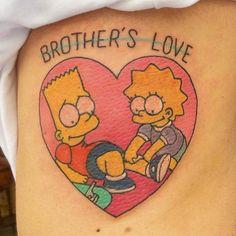 Bro Tattoos, Brother Tattoos, Sibling Tattoos, Badass Tattoos, Future Tattoos, Sexy Tattoos, Body Art Tattoos, Bart E Lisa, Lisa Simpson