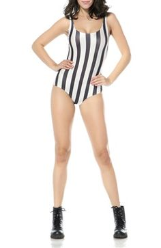 Black & White Stripe Print Scoop One-Piece Swimwear Style Code: 15383 $16.65 Order Here: http://www.outerinner.com/black-white-stripe-print-scoop-one-piece-swimwear-pd-15383-34.html