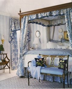 Beautiful blue and white bedroom with canopy bed. Blue Rooms, White Rooms, White Bedroom, Dream Bedroom, Floral Bedroom, White Canopy, White Walls, Beautiful Bedrooms, Beautiful Interiors