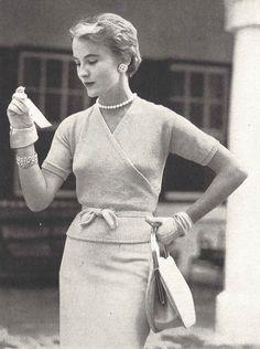 Cross My Heart  • 1950s Knitting Engagement Wraparound Cardigan Top Jumper • 50s Vintage Vogue Pattern • 1954 Retro Women's Knit Digital PDF by TheStarShop on Etsy
